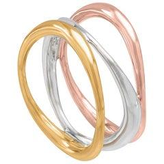 Silver & Gold Vermeil Tricolor Vaiven Ring, sizes, 55, 60, 65