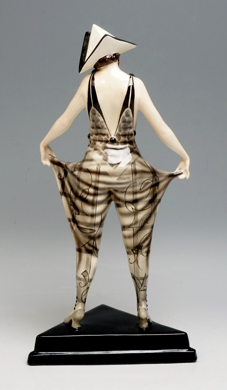 Art Deco 'Tricorn' Young Lady in Carnival Costume by Stephan Dakon, Goldscheider For Sale