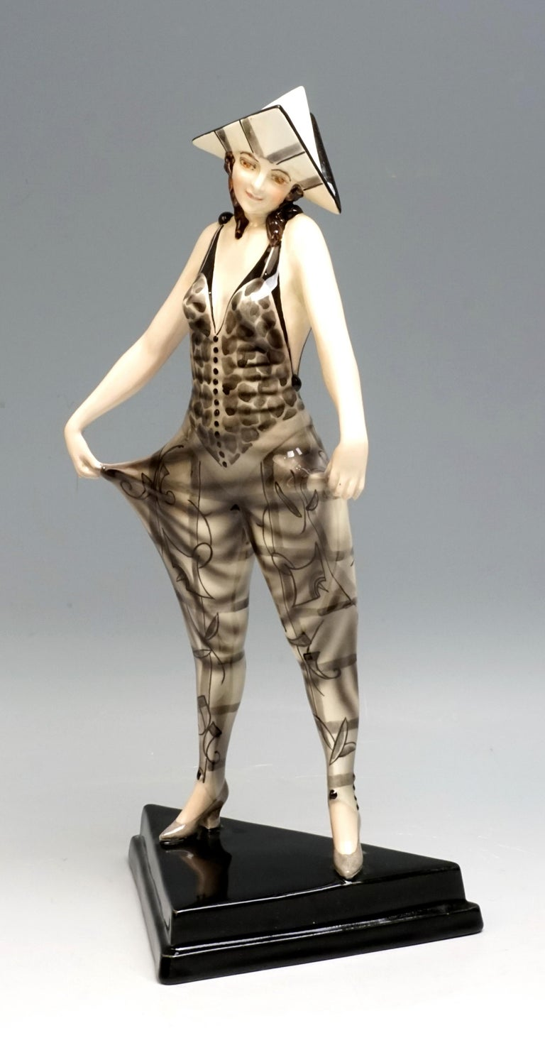 Austrian 'Tricorn' Young Lady in Carnival Costume by Stephan Dakon, Goldscheider For Sale