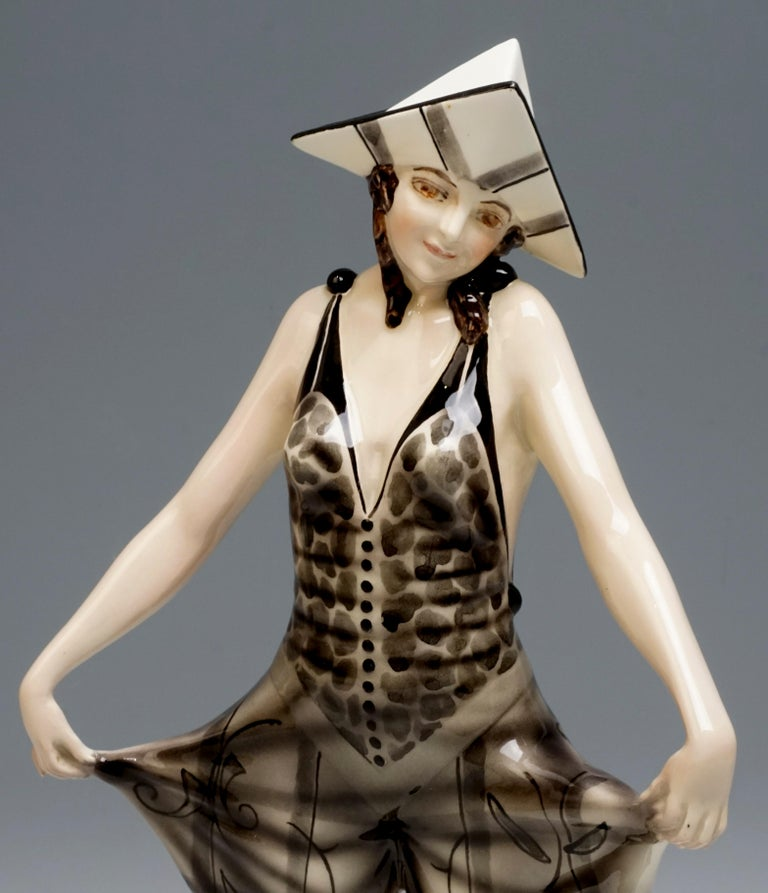 Hand-Crafted 'Tricorn' Young Lady in Carnival Costume by Stephan Dakon, Goldscheider For Sale