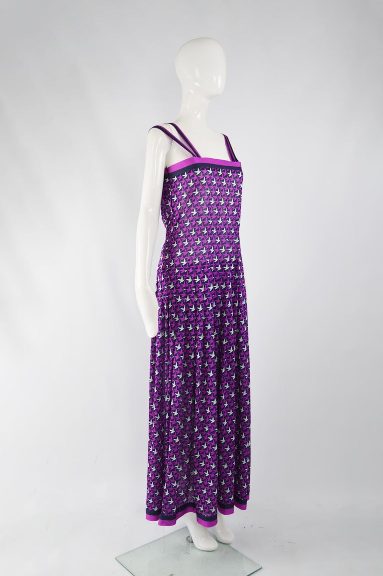 Purple Tricosa Paris Vintage 1970s Maxi Dress & Scarf For Sale