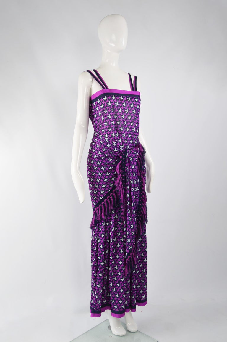 Tricosa Paris Vintage 1970s Maxi Dress & Scarf In Good Condition For Sale In Doncaster, South Yorkshire