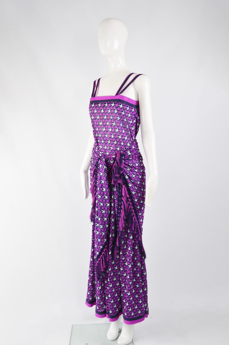 Tricosa Paris Vintage 1970s Maxi Dress & Scarf For Sale 3