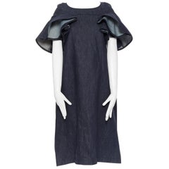 TRICOT COMME DES GARCONS dark indigo blue denim ruffle sleeve casual dress S
