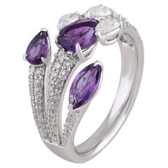 Trident Amethyst and Diamonds Ring in 18 Karat Gold
