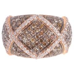 Trident Chocolate and White Diamond Ring