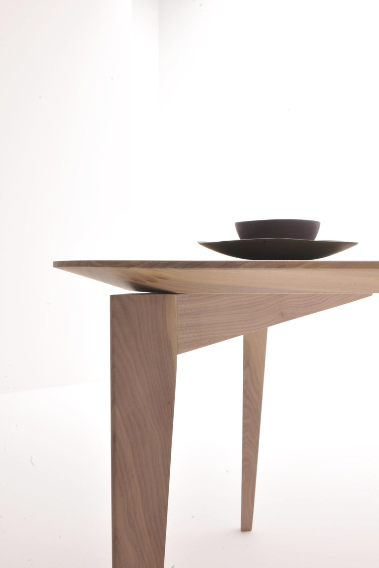 Italian Trident, contemporary table made of ash wood with triangular top For Sale