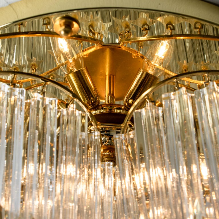 Triedri Crystal Gold-Plated Flush Mount by Venini, Italy For Sale 2