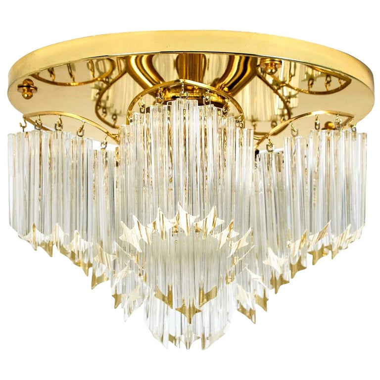 Triedri Crystal Gold-Plated Flush Mount by Venini, Italy For Sale