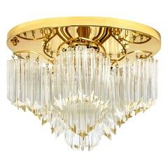 Triedri Crystal Gold-Plated Flush Mount by Venini, Italy