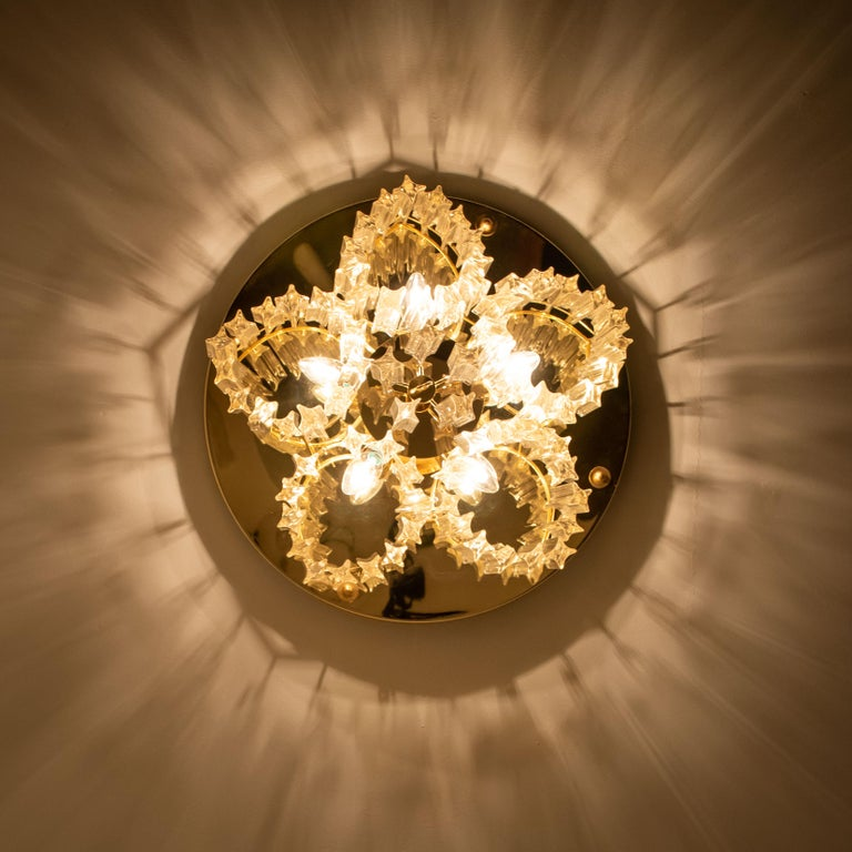 Triedri Crystal Gold-Plated Flushmount by Venini, Italy For Sale 4