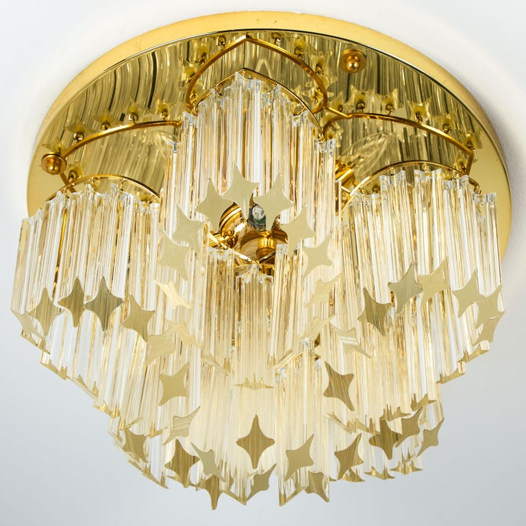 Mid-Century Modern Triedri Crystal Gold-Plated Flushmount by Venini, Italy For Sale