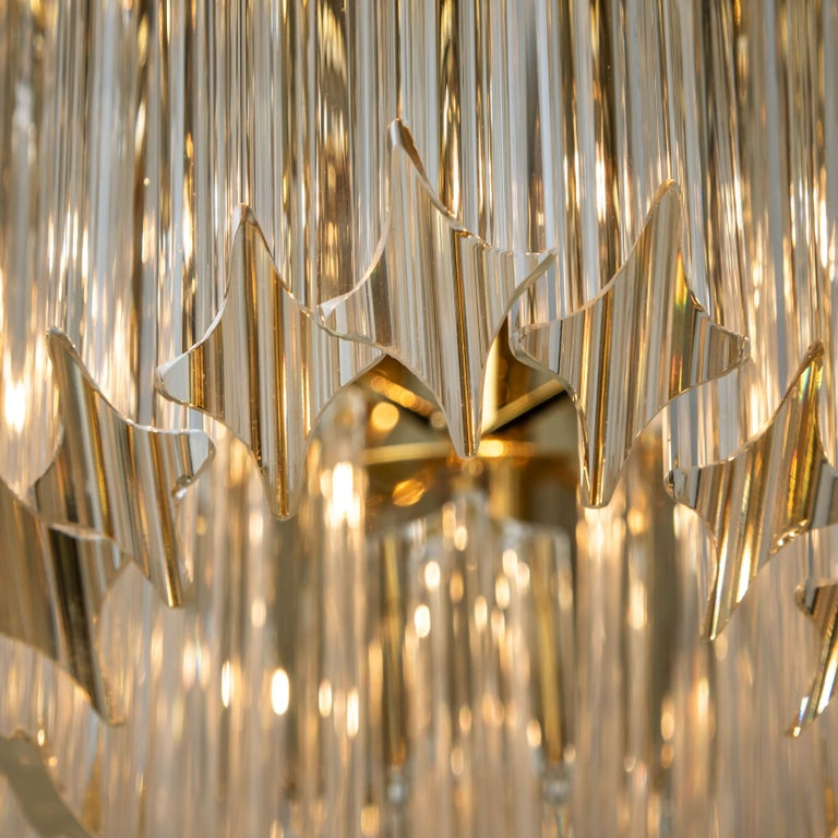Italian Triedri Crystal Gold-Plated Flushmount by Venini, Italy For Sale