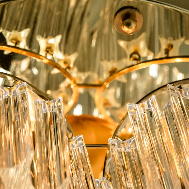 Triedri Crystal Gold-Plated Flushmount by Venini, Italy In Excellent Condition For Sale In Rijssen, NL