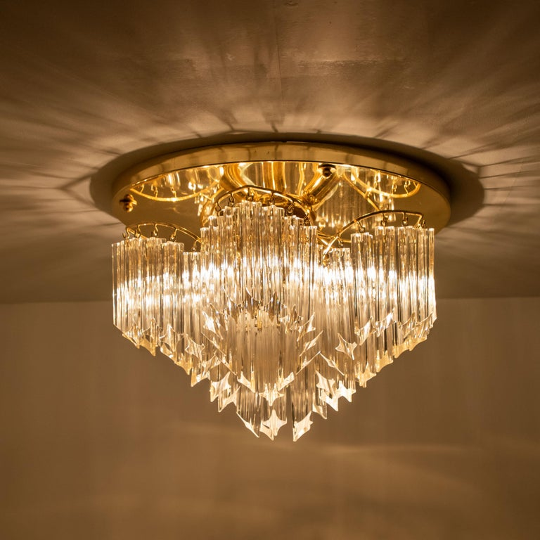 Late 20th Century Triedri Crystal Gold-Plated Flushmount by Venini, Italy For Sale