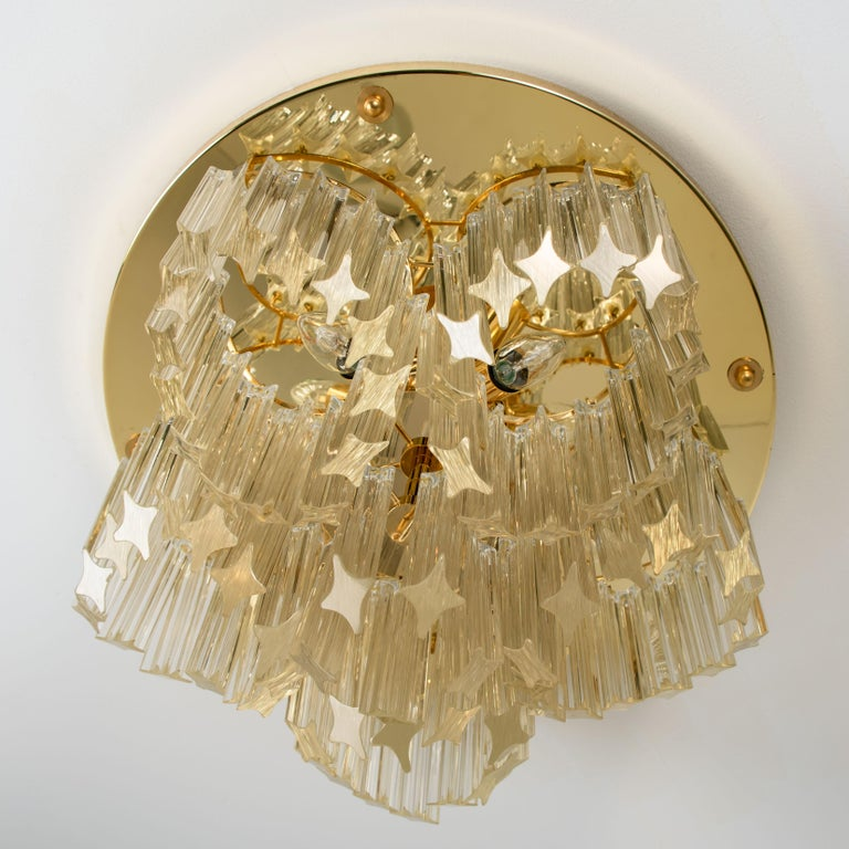 Brass Triedri Crystal Gold-Plated Flushmount by Venini, Italy For Sale