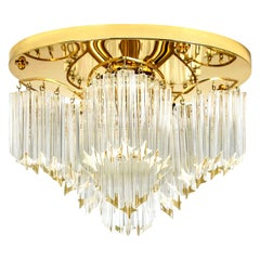 Triedri Crystal Gold-Plated Flushmount by Venini, Italy