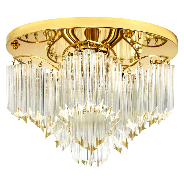 Triedri Crystal Gold-Plated Flushmount by Venini, Italy For Sale