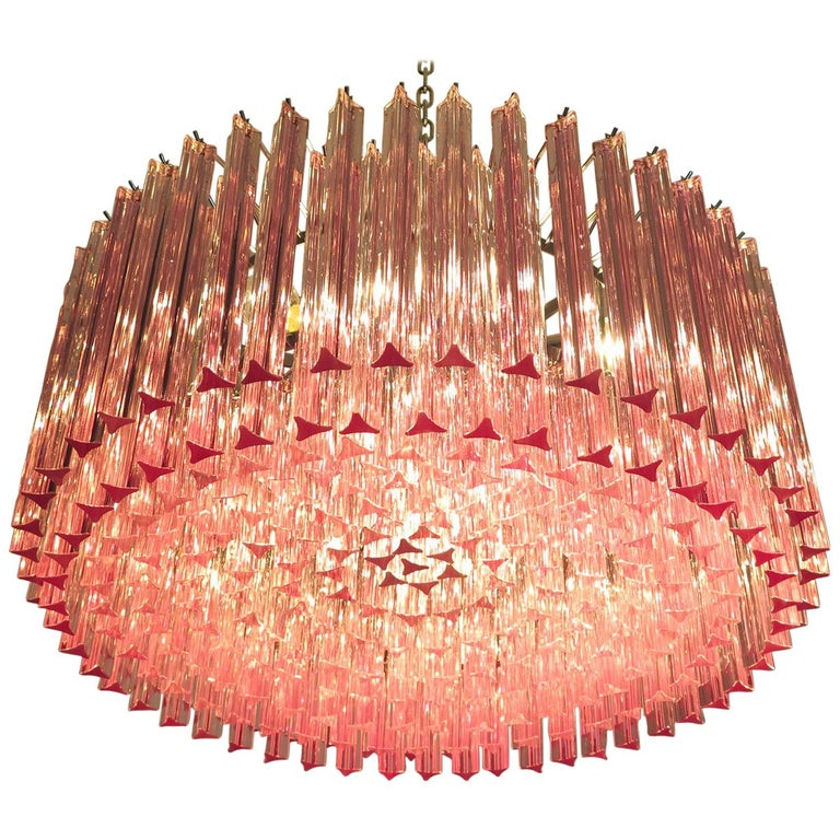 Triedri Murano glass chandelier, 265 pink prism