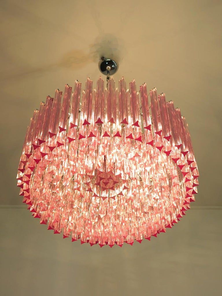 European Triedri Glass Chandelier, 265 Pink Prism, Murano For Sale