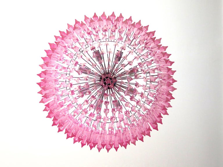 20th Century Triedri Glass Chandelier, 265 Pink Prism, Murano For Sale