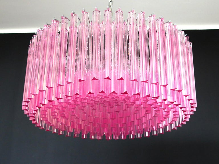 Triedri Glass Chandelier, 265 Pink Prism, Murano For Sale 3