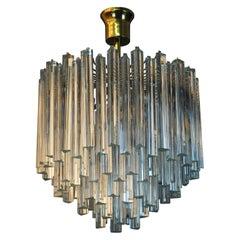 Triedri Murano Glass and Brass Chandelier Attributed to Venini, Italy, 1960s
