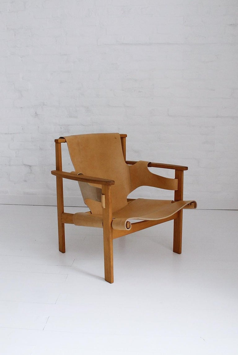 """""""Trienna"""" lounge chair by Carl-Axel Acking, This model was designed in 1957 and presented at the Milano Triennial that year, as part of the Swedish exhibit. In restored. Reupholstered condition. Manufactured in Hungary."""