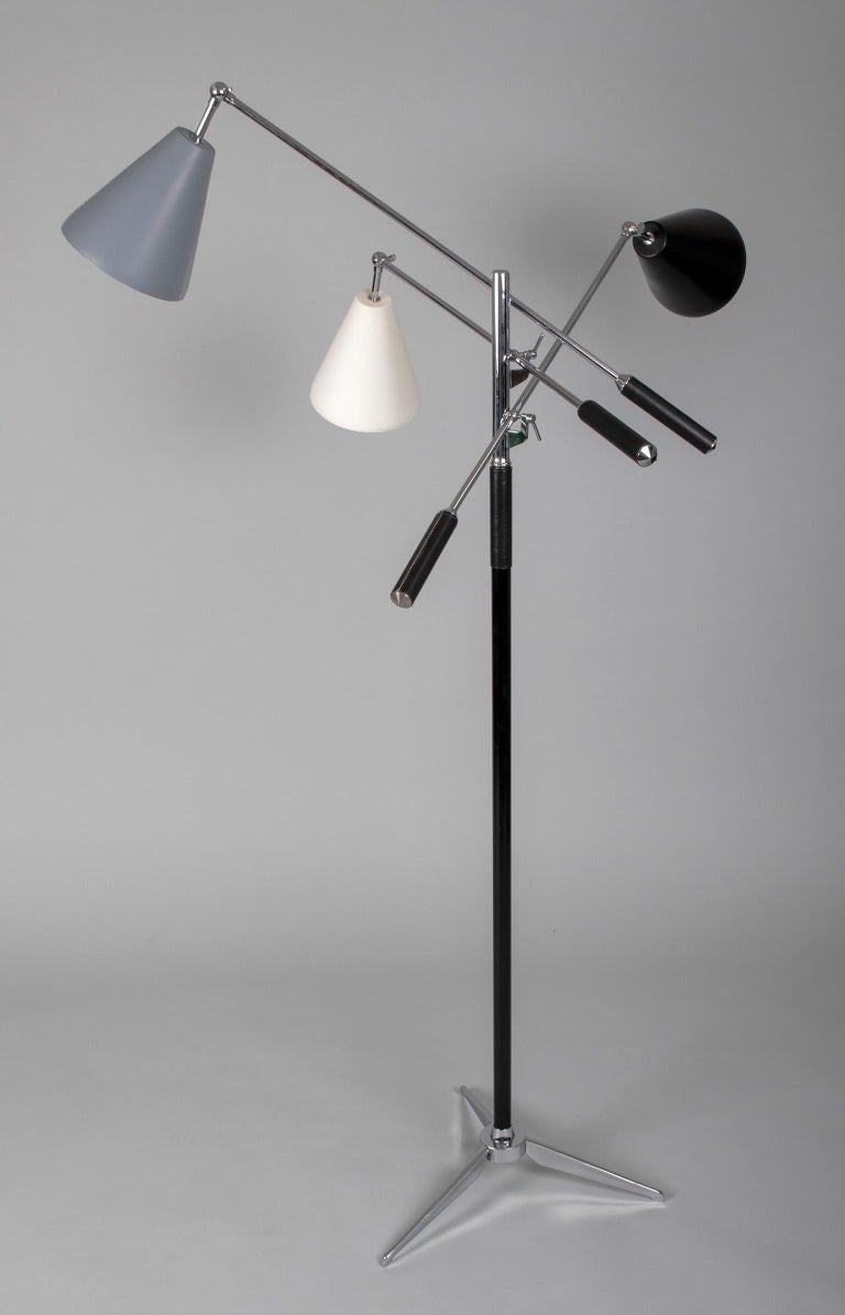 Mid-Century Modern Triennale Floor Lamp in the Style of Angelo Lelii for Arredoluce, Italy 1950's For Sale