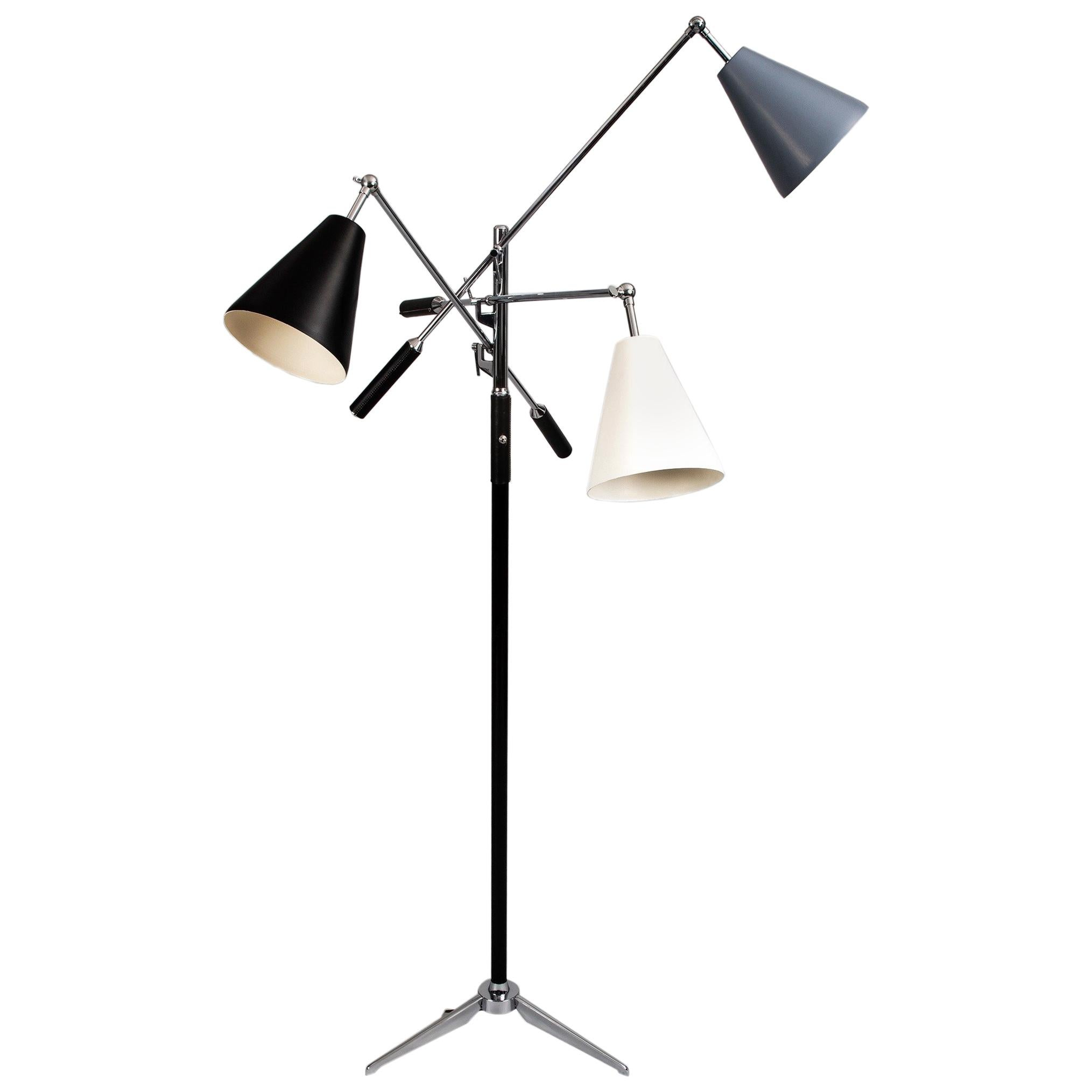 Triennale Floor Lamp in the Style of Angelo Lelii for Arredoluce, Italy 1950's