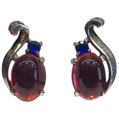 Trifari 1945 Sterling Silver with Red Cabs Earrings, Alfred Phillipe
