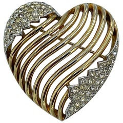Trifari 1953 Gold Heart Brooch & Pendant
