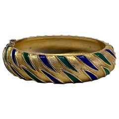 Trifari 1960s Blue and Green Enamel on Satin Gold Bangle
