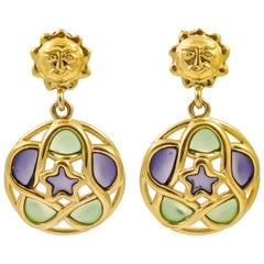Trifari 1980s Gold Plated Green and Lilac Glass Sun Face Star Clip On Earrings
