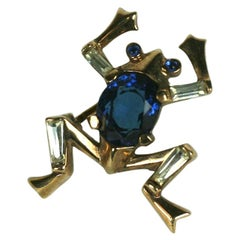 Trifari Alfred Philippe Gold and Sapphire Miniature Frog Pin
