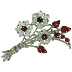 Trifari Alfred Philippe Moonstone and Ruby Fruit Salad Giant Bouquet Brooch