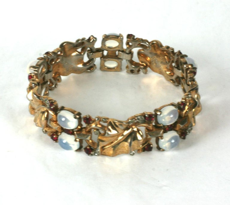 Trifari Alfred Philippe Moonstone and Ruby Golden Leaf Bracelet In Excellent Condition For Sale In Riverdale, NY