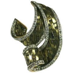 Trifari Alfred Philippe Retro Basket Weave Fur Clip