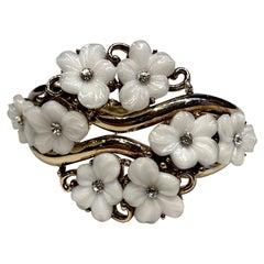 Trifari Alfred Philppe 1951 Glass Flower Bangle Bracelet