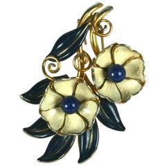 Trifari Art Deco Enameled Flower Clip