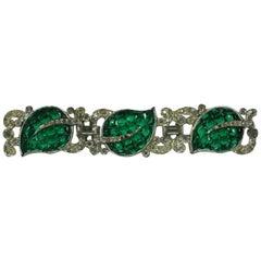 Trifari Art Deco Invisibly Set Green Leaf Brooch