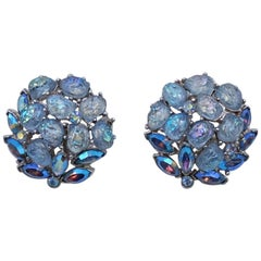 Trifari Blue Glass Earrings 1950's