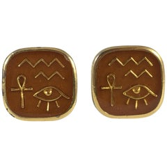 Trifari Brown Egyptian Hieroglyph Clip Earrings 1970s