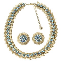 Trifari Choker Necklace and Pair of Matching Clip on Earring Set