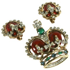 "Trifari ""Coronation Gems"" Red Royal Crown Pin Set, Original Box"