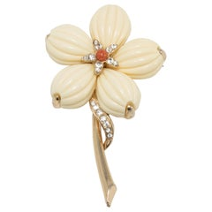Trifari Cream Lucite Petal Flower Gold Brooch with Clear Crystals and Faux Coral