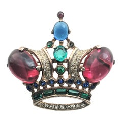 Trifari crown brooch designed by Alfred A. Philippe 1940 vermeil sterling