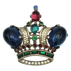 Trifari crown brooch designed by Alfred Philippe of vermeil sterling silver