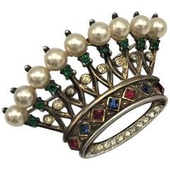 Trifari crown brooch of vermeil sterling silver 1940s