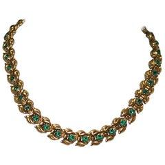 Trifari Eugenie Faux Emerald Leaf Necklace